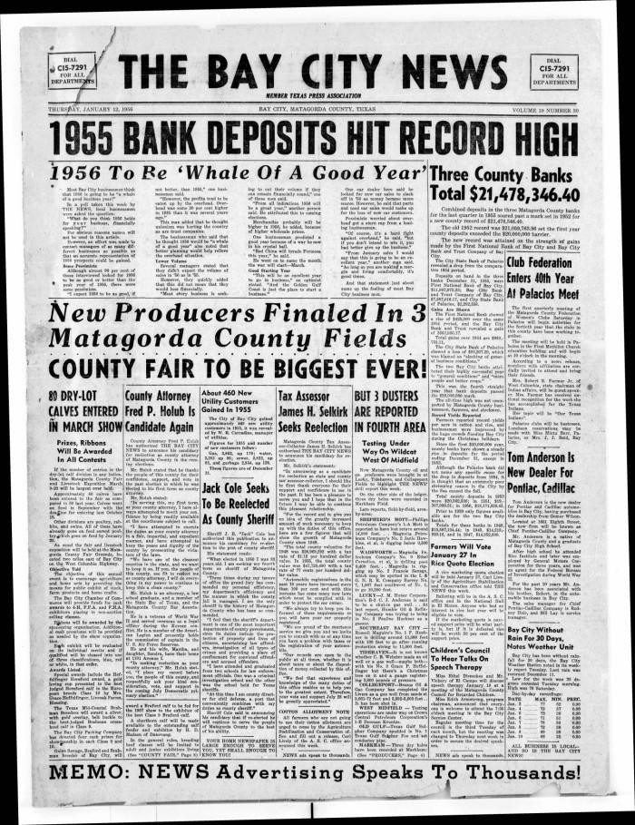 The Bay City News Bay City Tex Vol 10 No 30 Ed 1 Thursday January 12 1956 The Portal To Texas History Fairfield inn & suites bay city. bay city news bay city tex vol 10