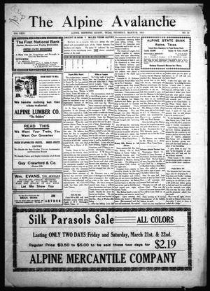 The Alpine Avalanche (Alpine, Tex.), Vol. 23, No. 12, Ed. 1 Thursday, March 20, 1913