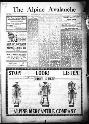 The Alpine Avalanche (Alpine, Tex.), Vol. 23, No. 13, Ed. 1 Thursday, March 27, 1913