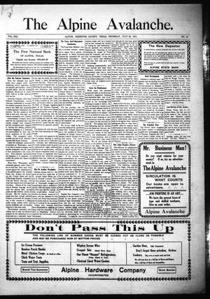 The Alpine Avalanche. (Alpine, Tex.), Vol. 21, No. 30, Ed. 1 Thursday, July 20, 1911