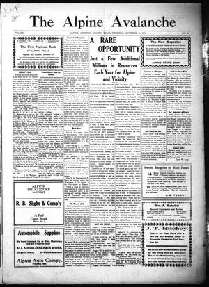 The Alpine Avalanche (Alpine, Tex.), Vol. 21, No. 45, Ed. 1 Thursday, November 9, 1911