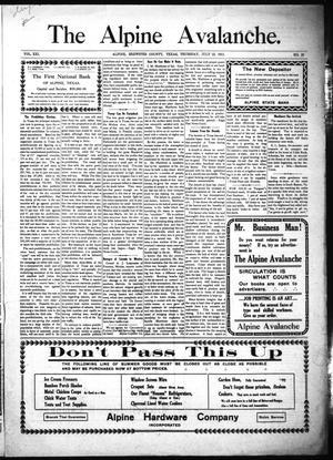 The Alpine Avalanche. (Alpine, Tex.), Vol. 21, No. 29, Ed. 1 Thursday, July 13, 1911