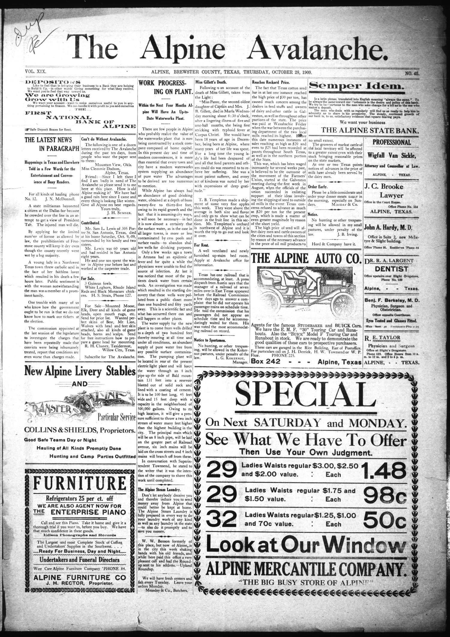 The Alpine Avalanche. (Alpine, Tex.), Vol. 19, No. 45, Ed. 1 Thursday,  October 28, 1909   The Portal To Texas History