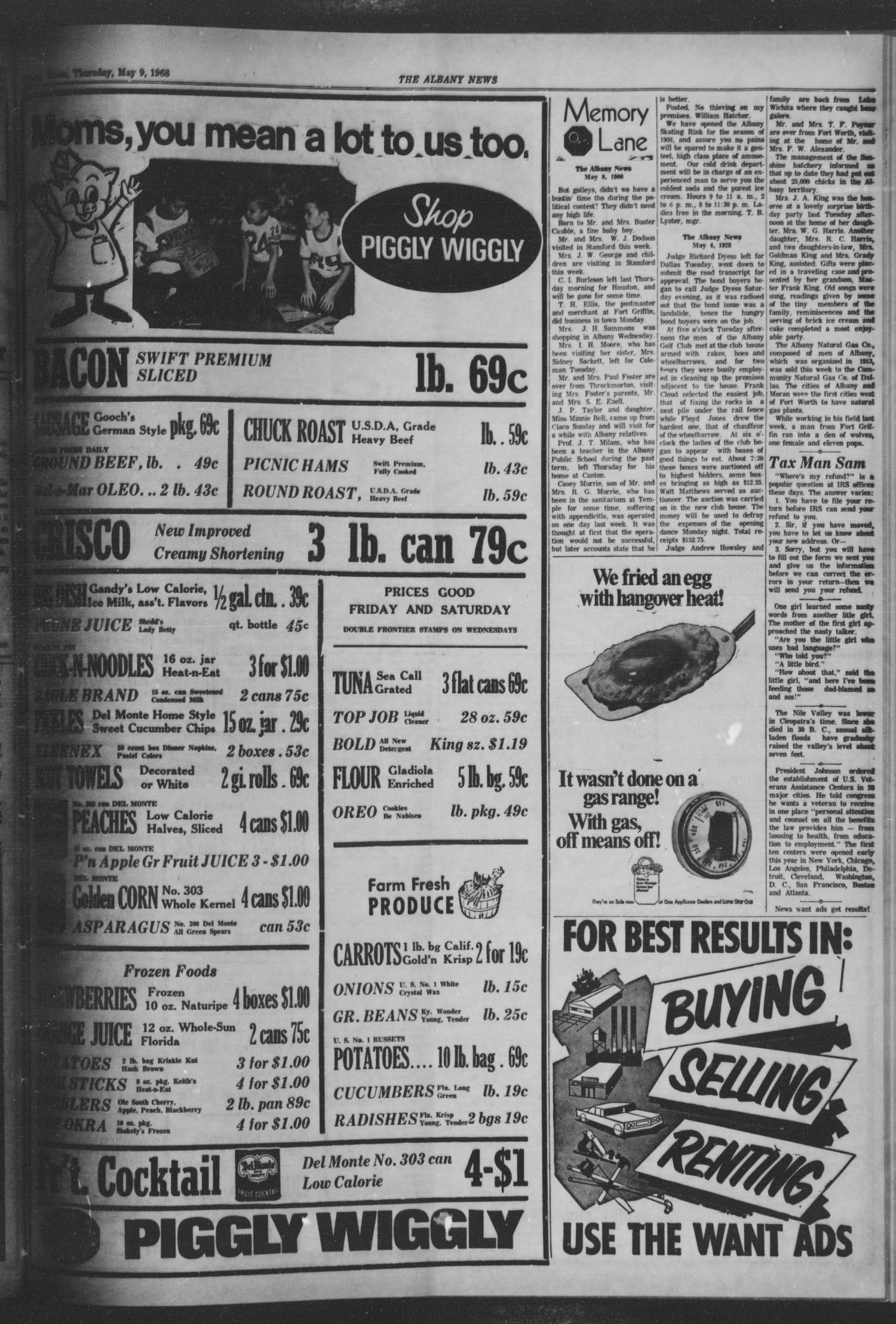 The Albany News (Albany, Tex.), Vol. 84, No. 37, Ed. 1 Thursday, May 9, 1968                                                                                                      [Sequence #]: 3 of 8