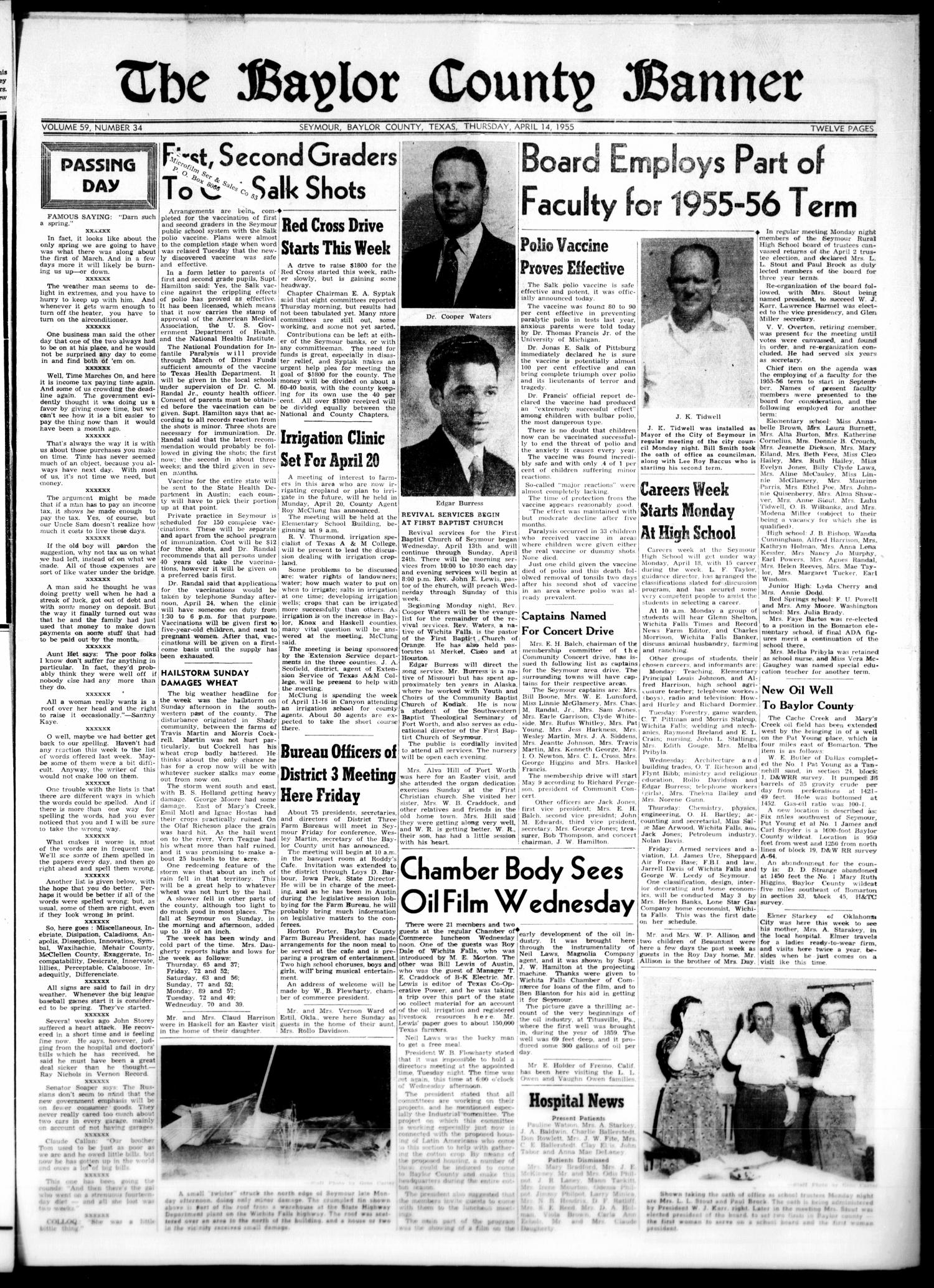The Baylor County Banner (Seymour, Tex.), Vol. 59, No. 34, Ed. 1 Thursday, April 14, 1955                                                                                                      [Sequence #]: 1 of 12
