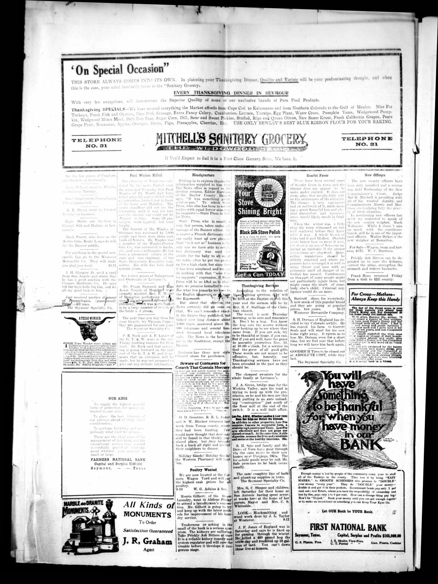 The Baylor County Banner. (Seymour, Tex.), Vol. 22, No. 10, Ed. 1 Thursday, November 23, 1916                                                                                                      [Sequence #]: 2 of 8