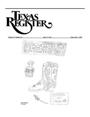 Primary view of object titled 'Texas Register, Volume 39, Number 26, Pages 4833-5000, June 26, 2014'.