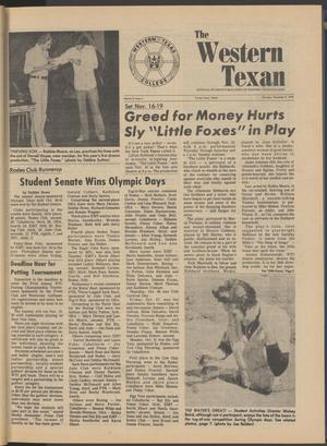 Primary view of object titled 'The Western Texan (Snyder, Tex.), Vol. 8, No. 4, Ed. 1 Thursday, November 9, 1978'.