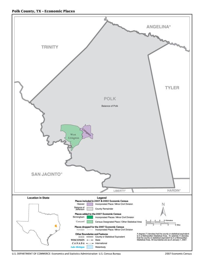 Concord Michigan Map.2007 Economic Census Map Polk County Texas Economic Places The