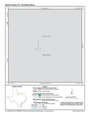 Primary view of object titled '2007 Economic Census Map: Baylor County, Texas - Economic Places'.