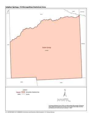 Primary view of object titled '2007 Economic Census Map: Sulphur Springs, Texas Micropolitan Statistical Area'.
