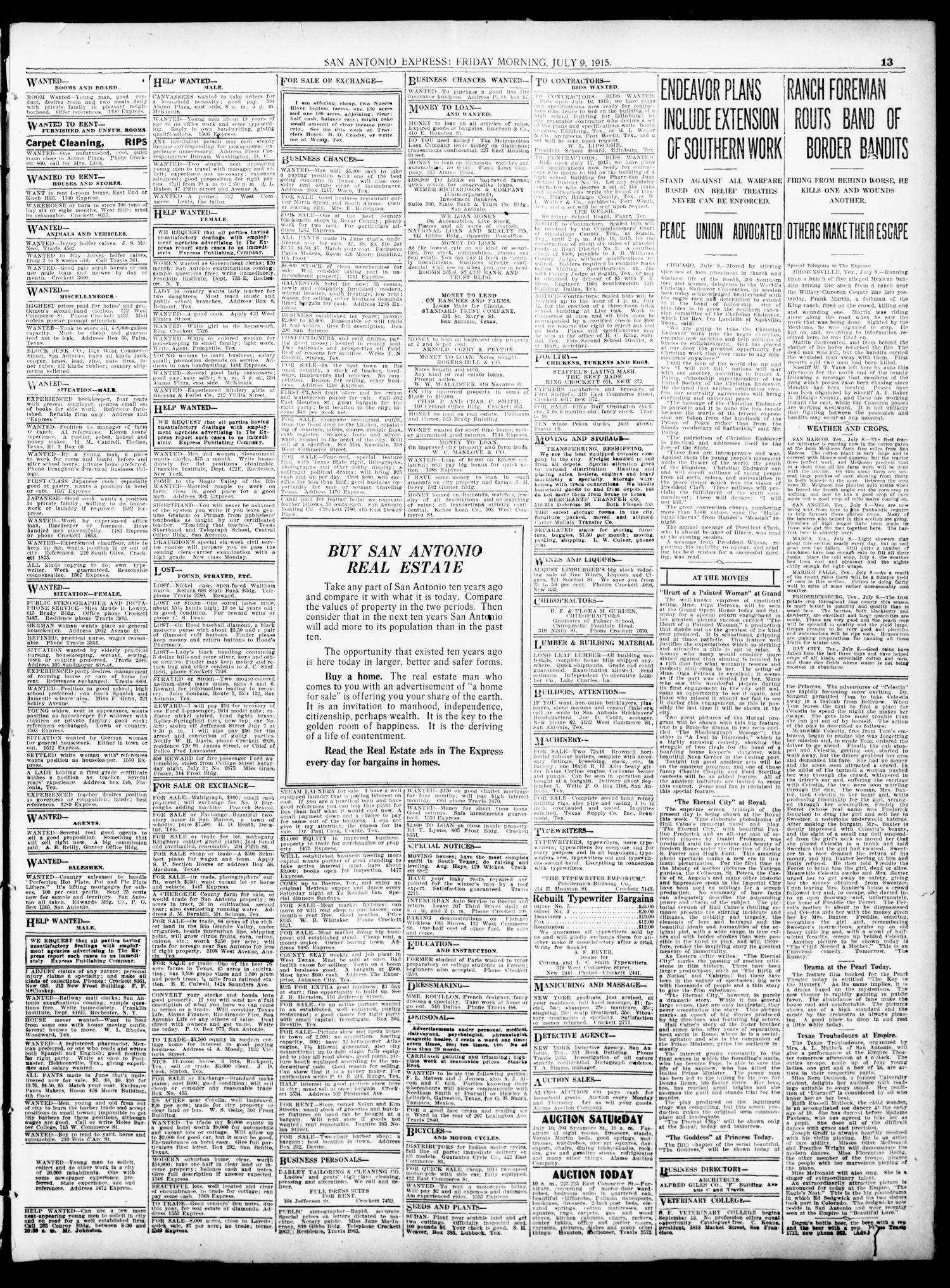 San Antonio Express Tex Vol 50 No 190 Ed 1 Wickes Pir Wiring Instructions Friday July 9 1915 Page 13 Of 14 The Portal To Texas History