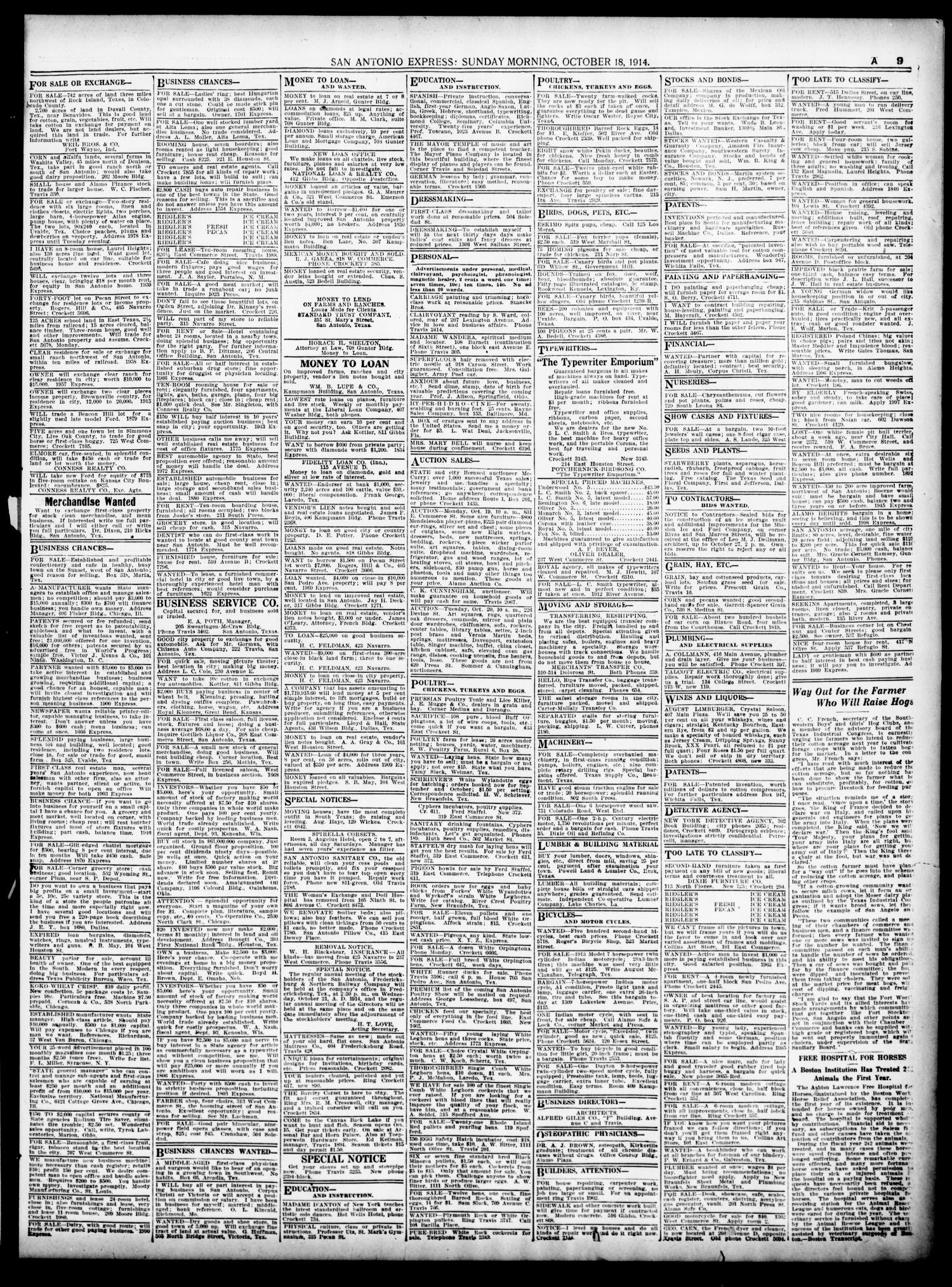 San Antonio Express Tex Vol 39 No 291 Ed 1 Wickes Pir Wiring Instructions Sunday October 18 1914 Page 41 Of 72 The Portal To Texas History