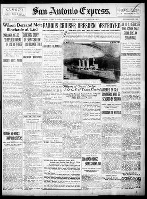Primary view of San Antonio Express. (San Antonio, Tex.), Vol. 50, No. 75, Ed. 1 Tuesday, March 16, 1915