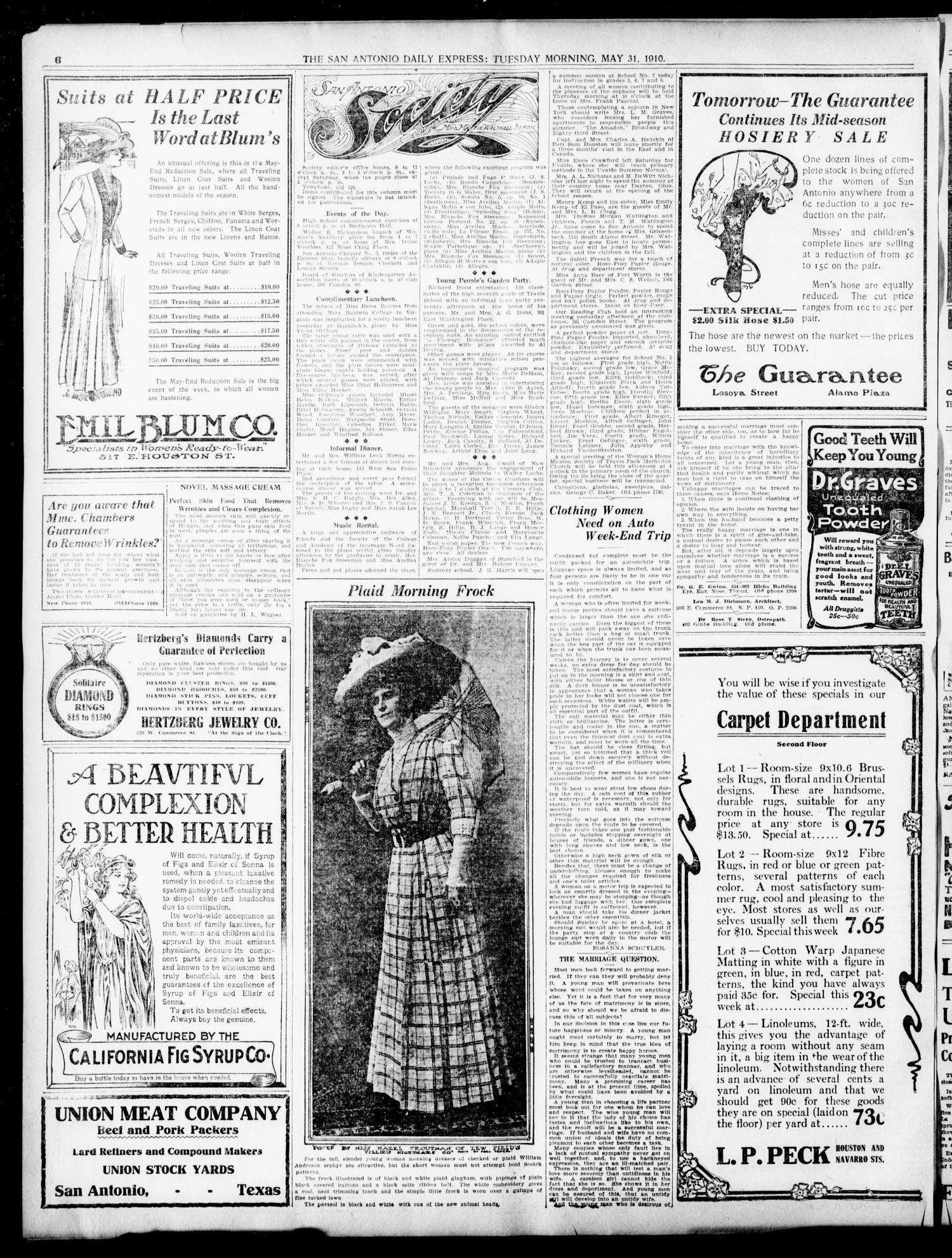 The Daily Express. (San Antonio, Tex.), Vol. 45, No. 151, Ed. 1 Tuesday, May 31, 1910 - Page 6 of 16 - The Portal to Texas History