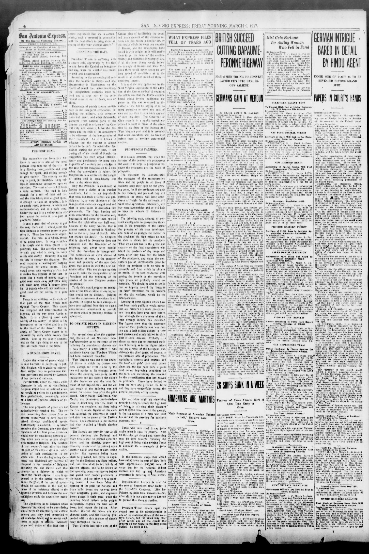 San Antonio Express. (San Antonio, Tex.), Vol. 52, No. 68, Ed. 1 Friday, March 9, 1917                                                                                                      [Sequence #]: 4 of 16