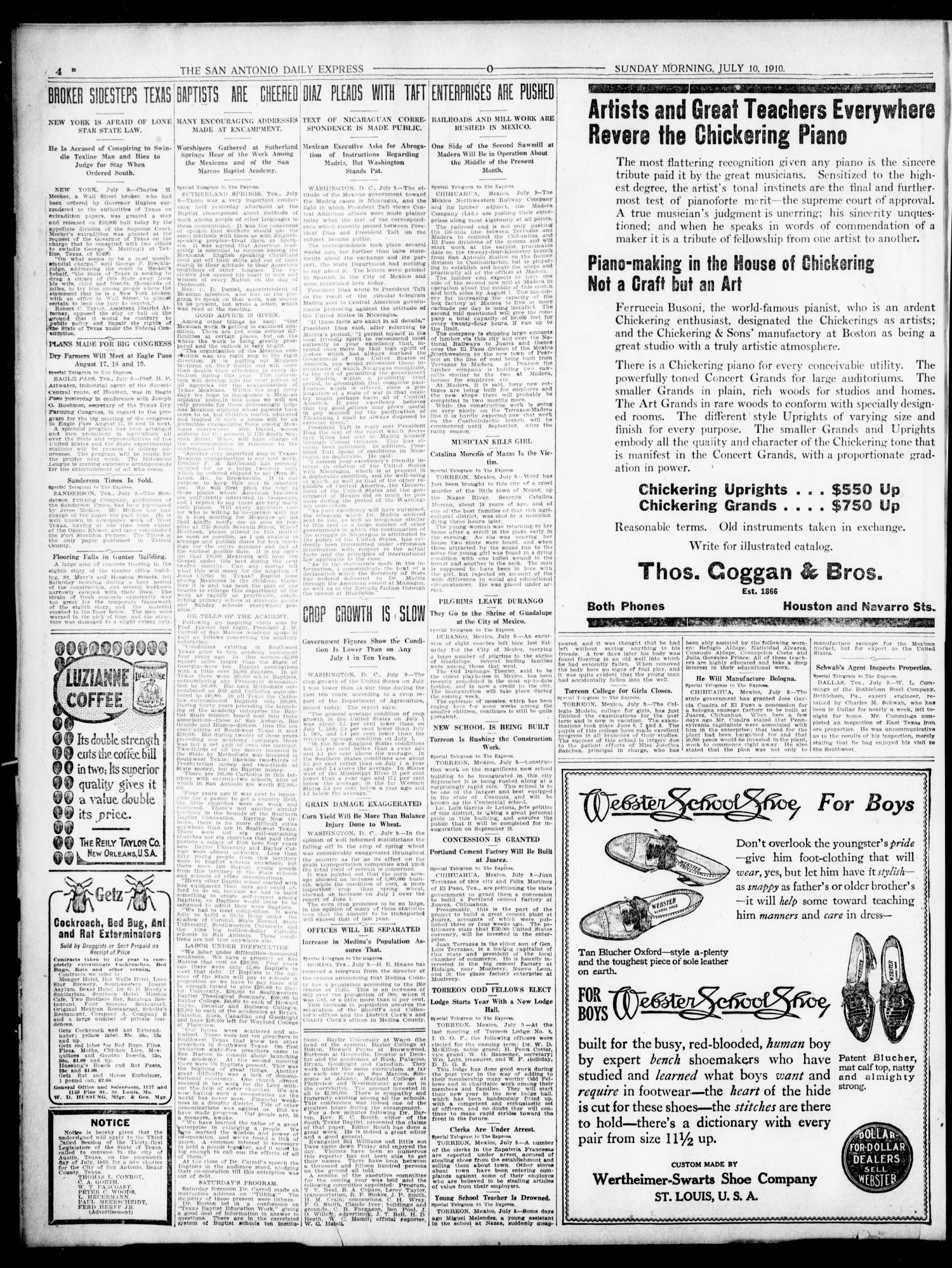 The Daily Express. (San Antonio, Tex.), Vol. 45, No. 191, Ed. 1 Sunday, July 10, 1910                                                                                                      [Sequence #]: 4 of 64