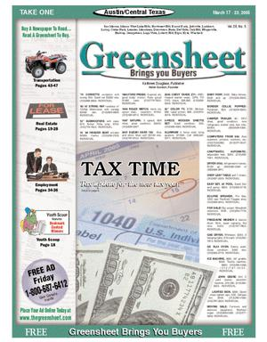 Primary view of object titled 'The Greensheet (Austin, Tex.), Vol. 28, No. 5, Ed. 1 Thursday, March 17, 2005'.