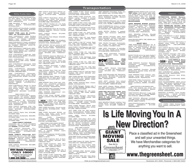 The Greensheet (Austin, Tex ), Vol  29, No  3, Ed  1 Thursday, March