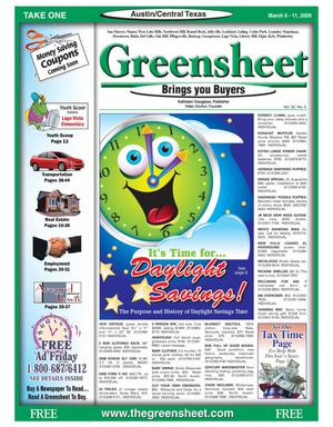 Primary view of object titled 'The Greensheet (Austin, Tex.), Vol. 32, No. 4, Ed. 1 Thursday, March 5, 2009'.