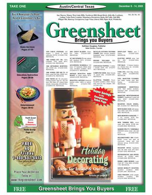 Primary view of object titled 'The Greensheet (Austin, Tex.), Vol. 28, No. 43, Ed. 1 Thursday, December 8, 2005'.