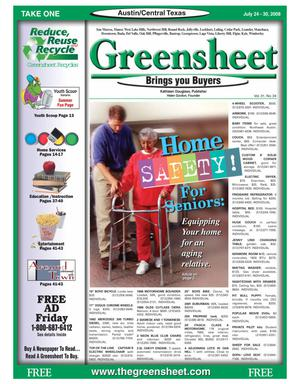 Primary view of object titled 'The Greensheet (Austin, Tex.), Vol. 31, No. 24, Ed. 1 Thursday, July 24, 2008'.
