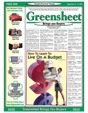 Primary view of object titled 'The Greensheet (Austin, Tex.), Vol. 29, No. 32, Ed. 1 Thursday, September 21, 2006'.