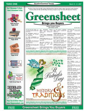 Primary view of object titled 'The Greensheet (Austin, Tex.), Vol. 30, No. 5, Ed. 1 Thursday, March 15, 2007'.