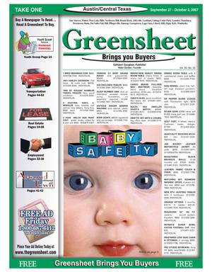 Primary view of object titled 'The Greensheet (Austin, Tex.), Vol. 30, No. 33, Ed. 1 Thursday, September 27, 2007'.