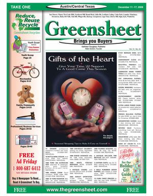 Primary view of object titled 'The Greensheet (Austin, Tex.), Vol. 31, No. 44, Ed. 1 Thursday, December 11, 2008'.