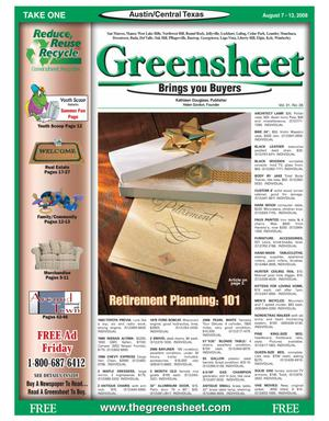 Primary view of object titled 'The Greensheet (Austin, Tex.), Vol. 31, No. 26, Ed. 1 Thursday, August 7, 2008'.