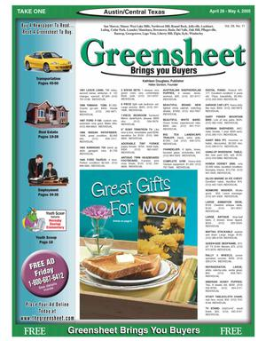 Primary view of object titled 'The Greensheet (Austin, Tex.), Vol. 28, No. 11, Ed. 1 Thursday, April 28, 2005'.