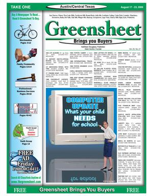 Primary view of The Greensheet (Austin, Tex.), Vol. 29, No. 27, Ed. 1 Thursday, August 17, 2006