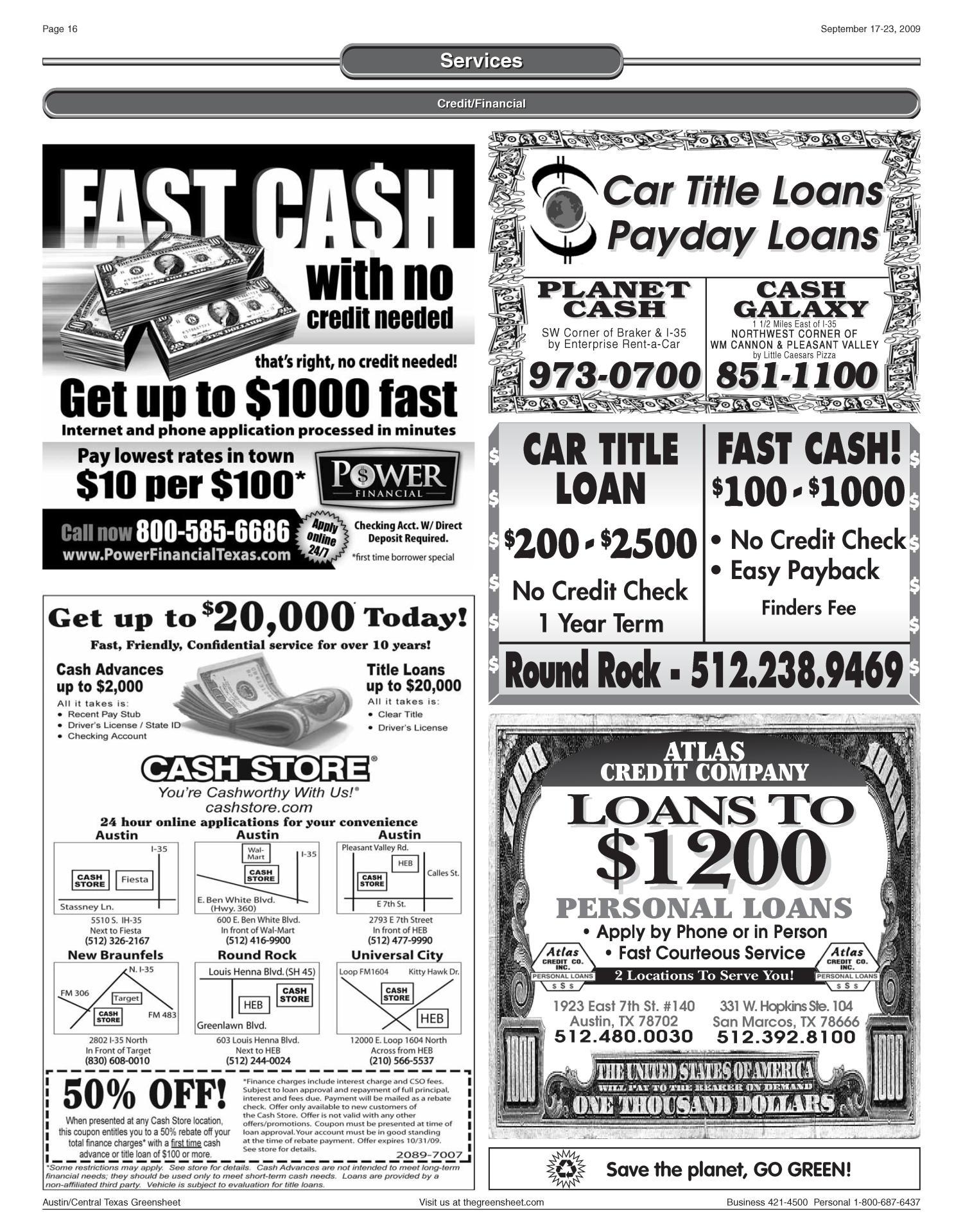The Greensheet Austin Tex Vol 32 No Ed 1 Thursday September 17 2009