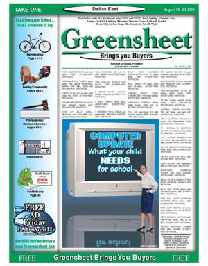 Primary view of object titled 'The Greensheet (Dallas, Tex.), Vol. 30, No. 132, Ed. 1 Friday, August 18, 2006'.