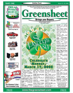 Primary view of object titled 'The Greensheet (Dallas, Tex.), Vol. 31, No. 342, Ed. 1 Friday, March 14, 2008'.