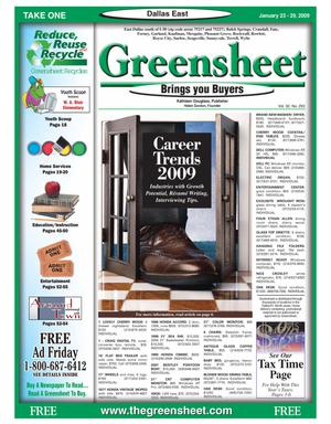 Primary view of object titled 'The Greensheet (Dallas, Tex.), Vol. 32, No. 293, Ed. 1 Friday, January 23, 2009'.