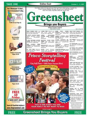 Primary view of object titled 'The Greensheet (Dallas, Tex.), Vol. 31, No. 181, Ed. 1 Friday, October 5, 2007'.