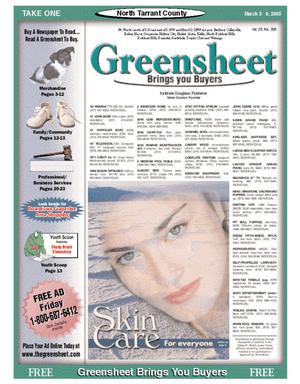 Primary view of object titled 'The Greensheet (Fort Worth, Tex.), Vol. 28, No. 309, Ed. 1 Thursday, March 3, 2005'.