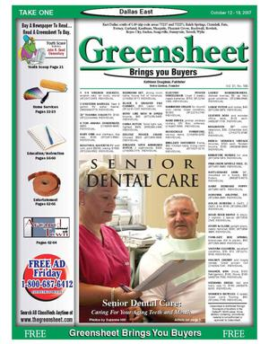 Primary view of object titled 'The Greensheet (Dallas, Tex.), Vol. 31, No. 188, Ed. 1 Friday, October 12, 2007'.