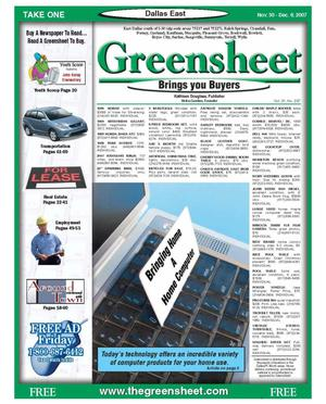 Primary view of object titled 'The Greensheet (Dallas, Tex.), Vol. 31, No. 237, Ed. 1 Friday, November 30, 2007'.