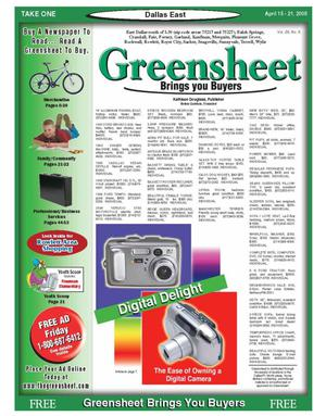 Primary view of object titled 'The Greensheet (Dallas, Tex.), Vol. 29, No. 6, Ed. 1 Friday, April 15, 2005'.