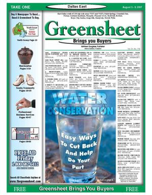 Primary view of object titled 'The Greensheet (Dallas, Tex.), Vol. 31, No. 118, Ed. 1 Friday, August 3, 2007'.