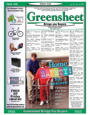 Primary view of object titled 'The Greensheet (Dallas, Tex.), Vol. 31, No. 202, Ed. 1 Friday, October 26, 2007'.