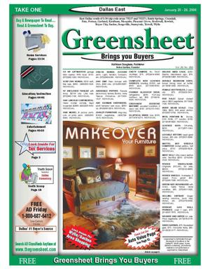 Primary view of object titled 'The Greensheet (Dallas, Tex.), Vol. 29, No. 286, Ed. 1 Friday, January 20, 2006'.