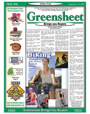 Primary view of object titled 'The Greensheet (Dallas, Tex.), Vol. 30, No. 160, Ed. 1 Friday, September 15, 2006'.