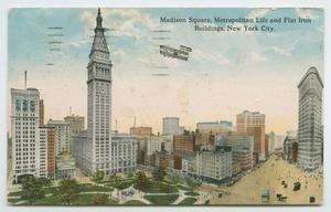 Primary view of object titled '[Postcard of Madison Square Buildings]'.