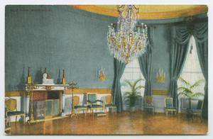 Primary view of object titled '[Postcard of the White House's Blue Room]'.