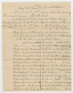 Primary view of object titled '[Muster Roll: 21st Texas Volunteer Infantry]'.