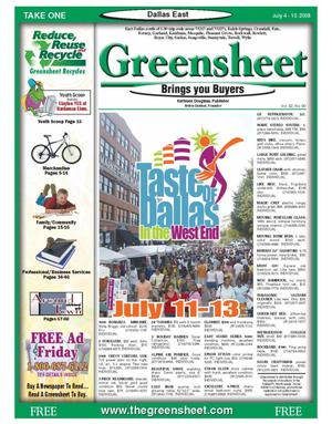Primary view of object titled 'The Greensheet (Dallas, Tex.), Vol. 32, No. 90, Ed. 1 Friday, July 4, 2008'.